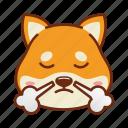 animal, dog, emoji, kawaii, pet, shiba, triumph