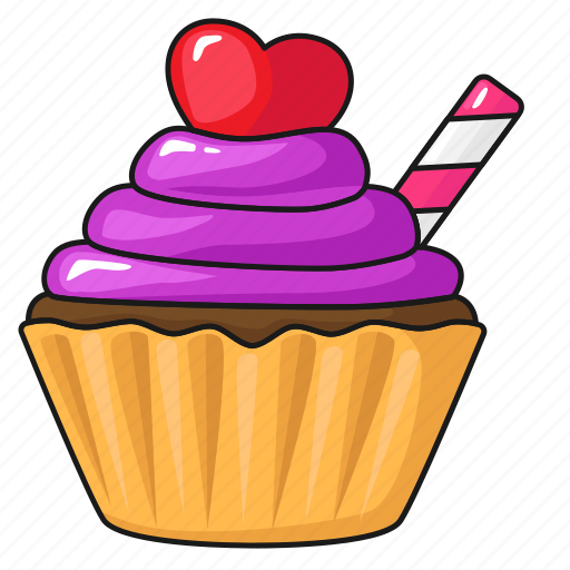 cake cup cake day line set template valentine s icon