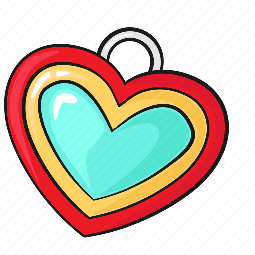 heart line love necklace pendant set template icon
