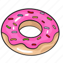 cartoon, donut, doughnut, line, set, template icon