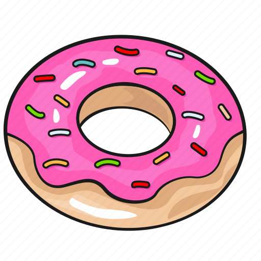 cartoon donut doughnut line set template icon