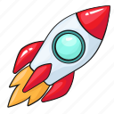 line, rocket, set, space, startup, template icon