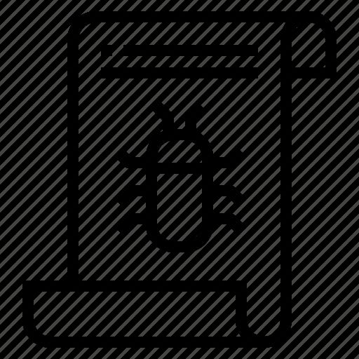bug, crime, file, mulware icon
