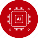 artificial, chip, gear, intelligence icon