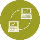 networking, server, connected, laptop, sharing icon