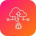 attack, bug, cloud, data, malware, secure, transfer icon