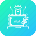 alarm, alert, bug, detect, hacking, notification, protection icon