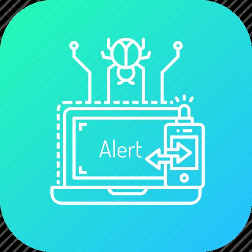 alarm, alert, bug, detect, hacking, notification, protection icon