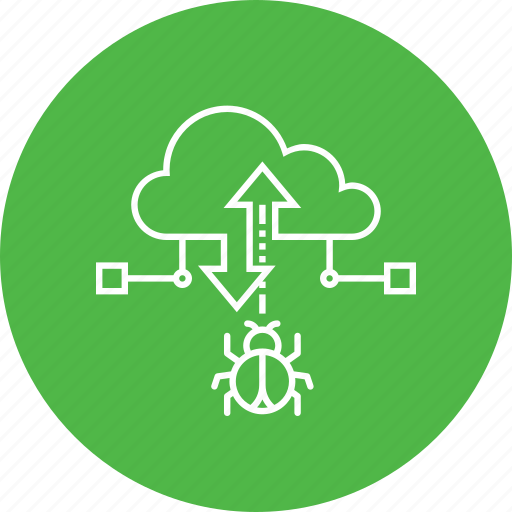 attack, bug, cloud, data, malware, secure, transfer icon