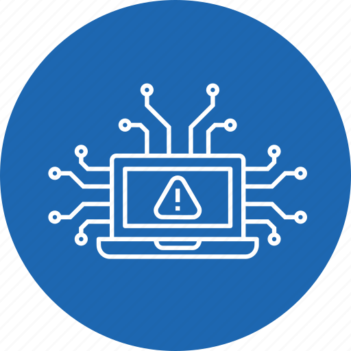 antivirus, crime, cyber, hacked, notice, security, warning icon