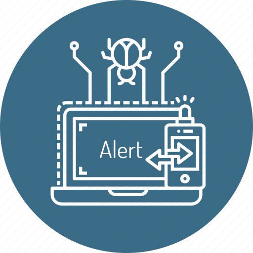 alarm, alert, attack, bug, detect, notification, protection icon