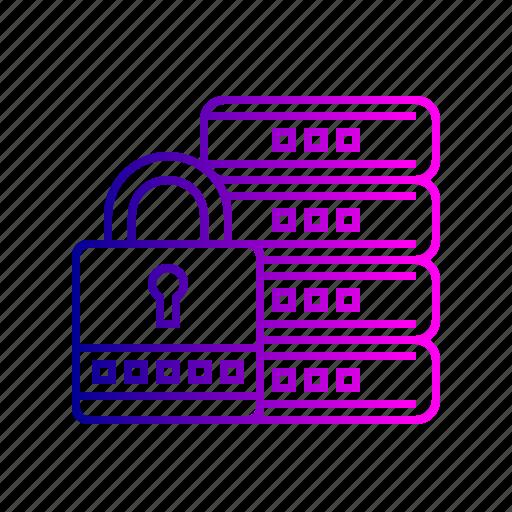 database, lock, management, protection, safe, secure icon