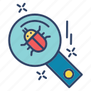 bug, crime, cyber, internet, search icon