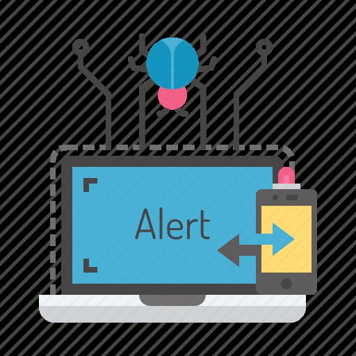 alarm, alert, attack, bug, detect, device, hacking icon