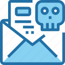 crime, email, hack, letter, mail, security, skull