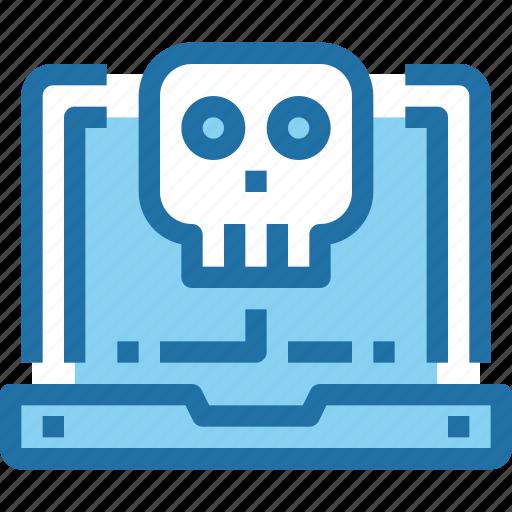 Computer, crime, hack, laptop, security, skull icon - Download on Iconfinder