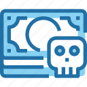 banking, crime, hack, money, security, skull icon