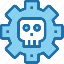 crime, gear, hack, process, security, skull icon