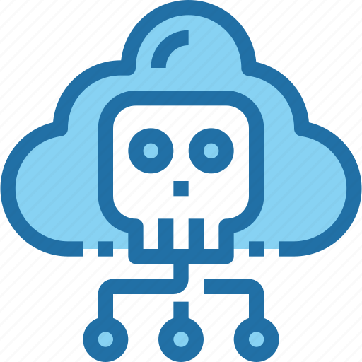 cloud, crime, hack, network, security, skull icon