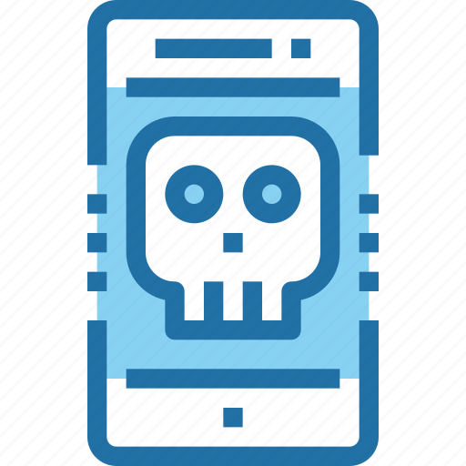 crime, hack, mobile, phone, security, skull, smartphone icon