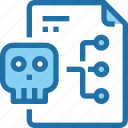 crime, document, file, hack, network, security, skull icon