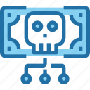 crime, hack, money, network, security, skull icon