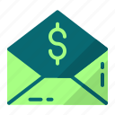 cyber monday, letter, message, money icon