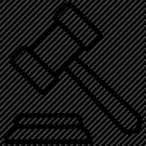 Auction hammer, judge hammer, justice equipments, law symbol, mallett icon - Download on Iconfinder