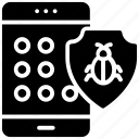 mobile insecurity, mobile virus, unprotected password, unsafe access, unsecure data icon