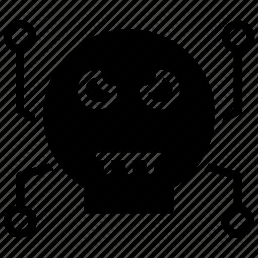 computer virus, crime symbol, cyber crime, cyber threat, spam skull icon