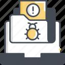bug, cyber attack, defect, folder, virus icon