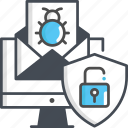computer, defect, internet, shield, spam icon