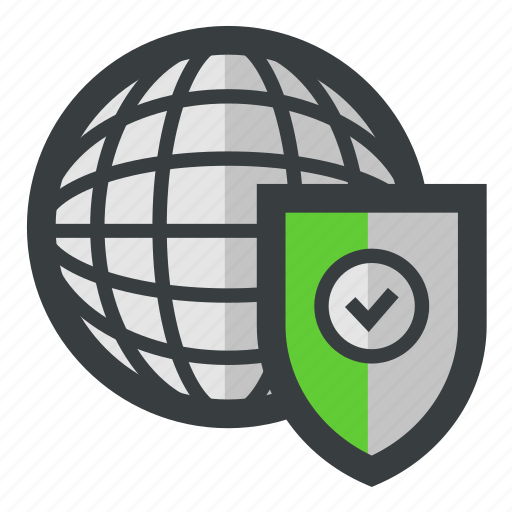 globe, secure, security, verified icon