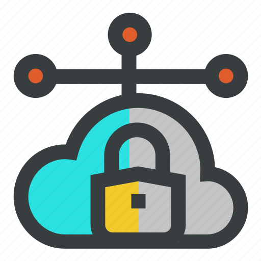 cloud, lock, network, security icon