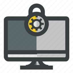 lock, monitor, protected, secure, security icon