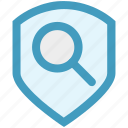 find, magnifier, protection, search, security, shield icon