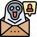 notification, ghost, evil, letter, hacked icon