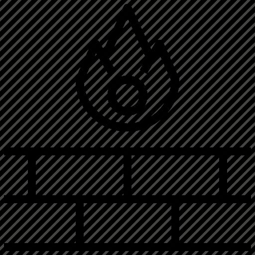 brick, electronics, fire, firewall, server, stone, wall icon