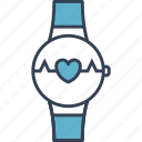 clock, cycling, heart icon