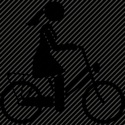 bicycle, bike, cycling, cyclist, female, lady, woman icon