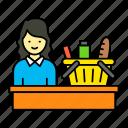 female, cashier, retail store, billing, supermarket, shopping items, bucket
