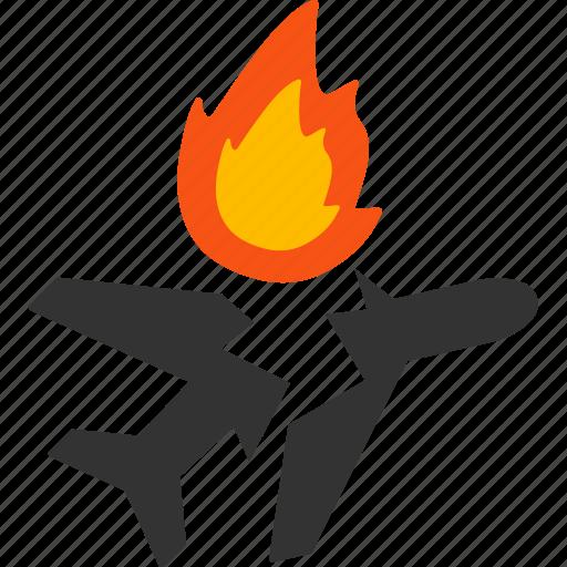 accident, aircraft break, airplane, collision, crash, damage, vehicle icon