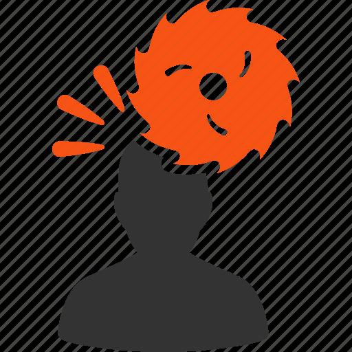 accident, blade, destroy, headache, man, migraine, user icon