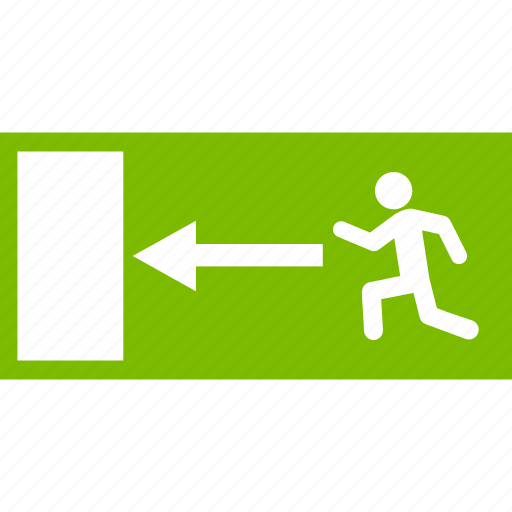 emergency, escape route, evacuation, fire exit, guidance, rescue direction, safety way icon