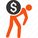 business, courier, delivery, finance, money, thief, transportation icon