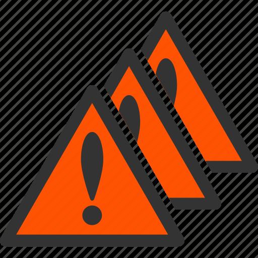 alarm, alert, danger, error, exclamation, multiple problems, warning icon