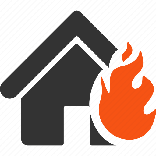 burn, damage, disaster, fire, house, insurance, real estate icon
