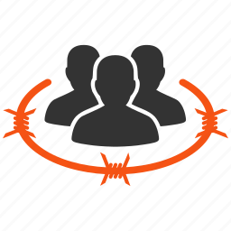 arrest, barbed wire, barbwire, camp, capture, captured, concentration camp, control, fence, isolation, jail, lagging, legal, people, police, prison, prisoner, seclusion, security, segregation icon