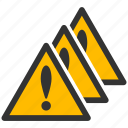 alarm, alert, attention, caution, damage, danger, exclamation, hazard, multiple, problem, problems, protection, risk, safe, safety, warning icon