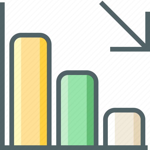arrow, chart, column, decrease icon